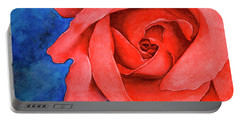 Red Rose Portable Battery Charger by Rebecca Davis