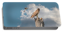 Red-tailed Hawk And Mockingbird Dispute Portable Battery Charger