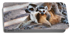 Ring Tailed Lemur With Baby Portable Battery Charger