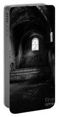 Portable Battery Charger featuring the photograph Rioseco Abandoned Abbey Nave Bw by RicardMN Photography