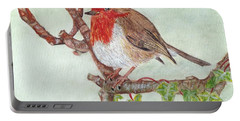 Robin Redbreast Portable Battery Charger by Veronica Rickard