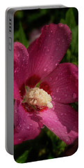 Rose Of Sharon Hibiscus With Rain Drops Portable Battery Charger