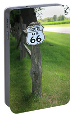 Portable Battery Charger featuring the photograph Route 66 Shield And Fence Post by Frank Romeo