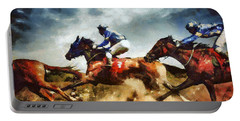 Portable Battery Charger featuring the painting Running Horses Competition Jockeys In Horse Race by Dimitar Hristov