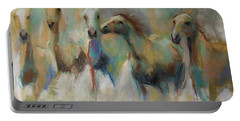 Portable Battery Charger featuring the pastel Running With The Palominos by Frances Marino