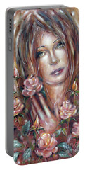 Portable Battery Charger featuring the painting Sad Venus In A Rose Garden 060609 by Selena Boron