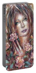 Sad Venus In A Rose Garden 060609 Portable Battery Charger by Selena Boron