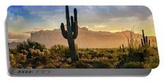 Portable Battery Charger featuring the photograph Saguaro Sunrise In The Superstitions  by Saija Lehtonen