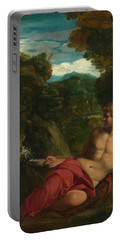 Saint John The Baptist Seated In The Wilderness Portable Battery Charger
