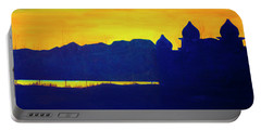 Portable Battery Charger featuring the painting Saltair Sunset by Jane Autry