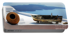 Portable Battery Charger featuring the photograph Santorini Greece by Bob Christopher