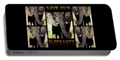 Portable Battery Charger featuring the painting Save  Our  Endangered  Elephants by Hartmut Jager