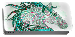 Sea Green Ethnic Horse Portable Battery Charger