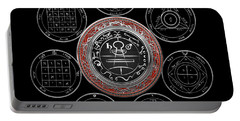 Silver Seal Of Solomon Over Seven Pentacles Of Saturn On Black Canvas  Portable Battery Charger