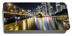 Singapore River At Night With Financial District In Singapore Portable Battery Charger