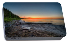 Portable Battery Charger featuring the photograph Skeleton Lake Beach At Sunset by Darcy Michaelchuk