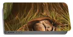 Portable Battery Charger featuring the painting Sleeping  by Veronica Minozzi