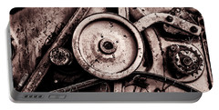 Soviet Ussr Combine Harvester Abstract Cogs In Monochrome Portable Battery Charger