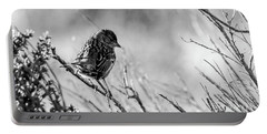 Snarky Sparrow, Black And White Portable Battery Charger