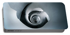 Portable Battery Charger featuring the photograph Spiral Staircase In Blue Tones by Jaroslaw Blaminsky