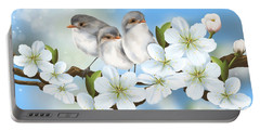 Portable Battery Charger featuring the painting Spring Fever by Veronica Minozzi