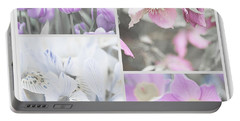 Portable Battery Charger featuring the photograph Spring Flower Collage. Shabby Chic Collection by Jenny Rainbow
