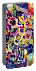 Stained Glass Pansies Portable Battery Charger