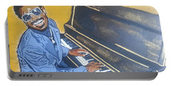 Portable Battery Charger featuring the painting Stevie Wonder by Rachel Natalie Rawlins