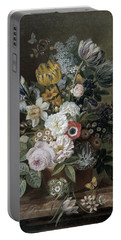 Portable Battery Charger featuring the painting Still Life With Flowers by Eelke Jelles Eelkema