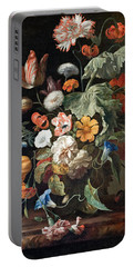 Still-life With Flowers Portable Battery Charger by Rachel Ruysch