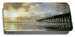 Stormy Sunrise At Johnnie Mercer's Pier Portable Battery Charger by Phil Mancuso