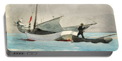 Stowing Sail Portable Battery Charger by Winslow Homer
