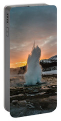 Strokkur Winter Blowup In Front Of Sunset Portable Battery Charger