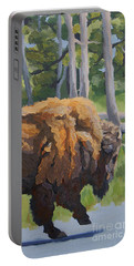 Portable Battery Charger featuring the painting Strutting Along, Yellowstone by Erin Fickert-Rowland