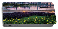 summer flowers and Chicago skyline Portable Battery Charger