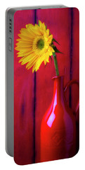 Sunflower In Red Pitcher Portable Battery Charger