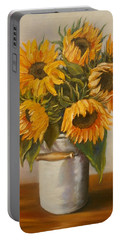 Portable Battery Charger featuring the painting Sunflowers by Nina Mitkova