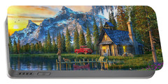 Sunset At Log Cabin Portable Battery Charger