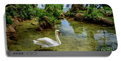 Swan In The Waterfalls Of Skradinski Buk At Krka National Park In Croatia Portable Battery Charger