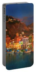 Symi Harbour Greece Portable Battery Charger by Joe Gilronan