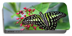 Portable Battery Charger featuring the photograph Tailed Green Jay Butterfly  by Saija Lehtonen