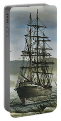 Portable Battery Charger featuring the painting Tall Ship Cove by James Williamson