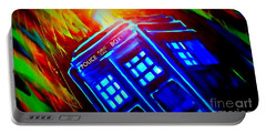 Portable Battery Charger featuring the painting Tardis Watercolor Edition by Justin Moore
