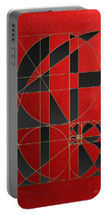 The Alchemy - Divine Proportions - Black On Red Portable Battery Charger by Serge Averbukh