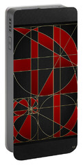 The Alchemy - Divine Proportions - Red On Black Portable Battery Charger by Serge Averbukh