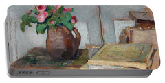 The Artist's Paint Box And Moss Roses Portable Battery Charger