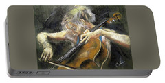Portable Battery Charger featuring the painting The Cellist by Debora Cardaci