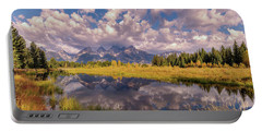Portable Battery Charger featuring the photograph The Grand Tetons National Park Autumn Olena Art Fall Colors Photography by OLena Art Brand