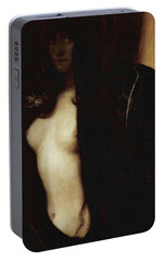Portable Battery Charger featuring the painting The Sin by Franz von Stuck