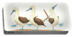 Three Blue Footed Boobies Portable Battery Charger by Juan Bosco